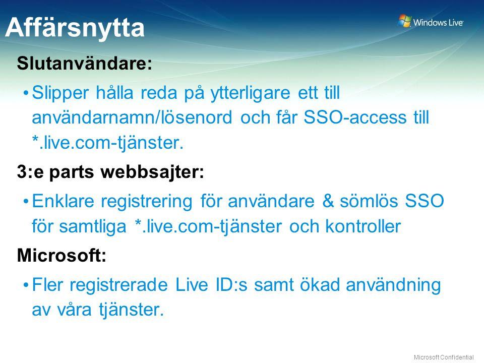 Microsoft Confidential Affärsnytta Slutanvändare: Slipper hålla reda på ytterligare ett till användarnamn/lösenord och får SSO-access till *.live.com-tjänster.