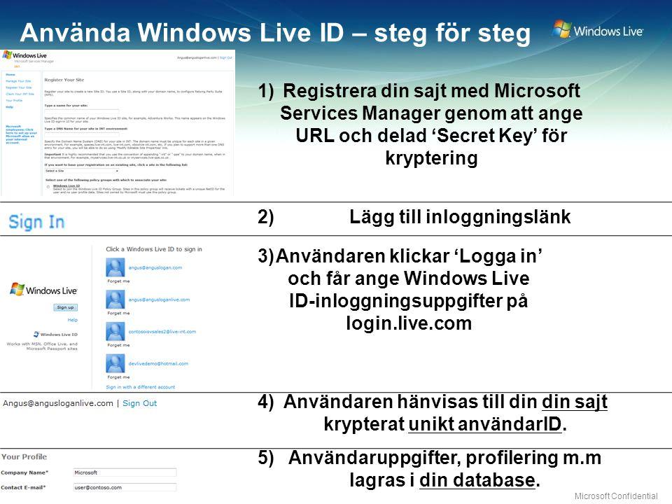 Microsoft Confidential Använda Windows Live ID – steg för steg Lägg till inloggningslänk Användaren klickar 'Logga in' och får ange Windows Live ID-inloggningsuppgifter på login.live.com Användaren hänvisas till din din sajt krypterat unikt användarID.