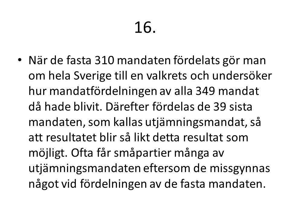 16. När de fasta 310 mandaten fördelats gör man om hela Sverige till en valkrets och undersöker hur mandatfördelningen av alla 349 mandat då hade bliv