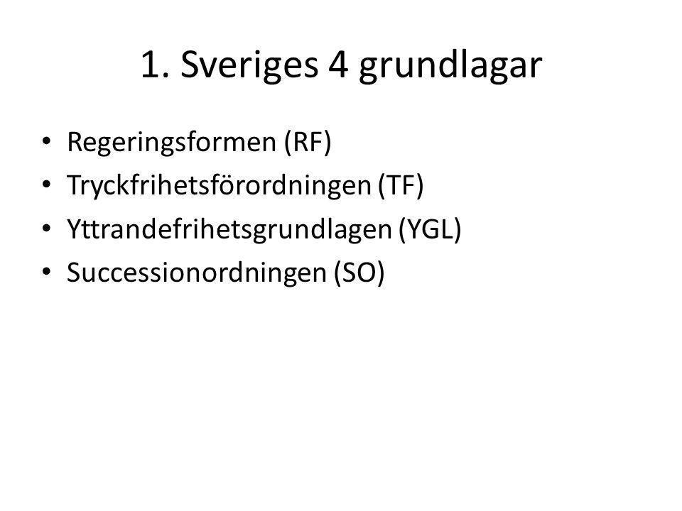 1. Sveriges 4 grundlagar Regeringsformen (RF) Tryckfrihetsförordningen (TF) Yttrandefrihetsgrundlagen (YGL) Successionordningen (SO)