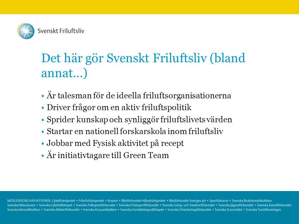 Det här gör Svenskt Friluftsliv (bland annat…) Är talesman för de ideella friluftsorganisationerna Driver frågor om en aktiv friluftspolitik Sprider k