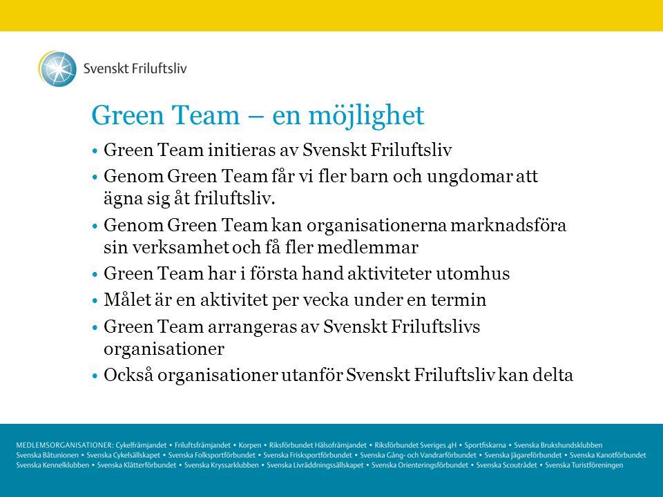 Green Team – en möjlighet Green Team initieras av Svenskt Friluftsliv Genom Green Team får vi fler barn och ungdomar att ägna sig åt friluftsliv. Geno