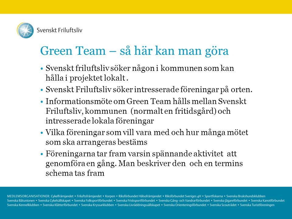 Green Team – så här kan man göra Svenskt friluftsliv söker någon i kommunen som kan hålla i projektet lokalt. Svenskt Friluftsliv söker intresserade f