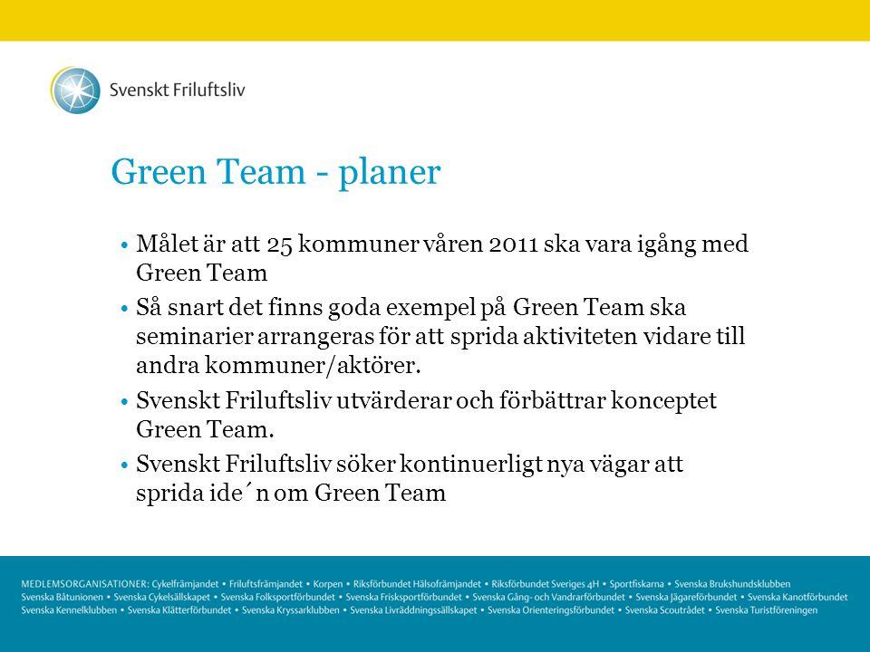 Green Team - planer Målet är att 25 kommuner våren 2011 ska vara igång med Green Team Så snart det finns goda exempel på Green Team ska seminarier arr