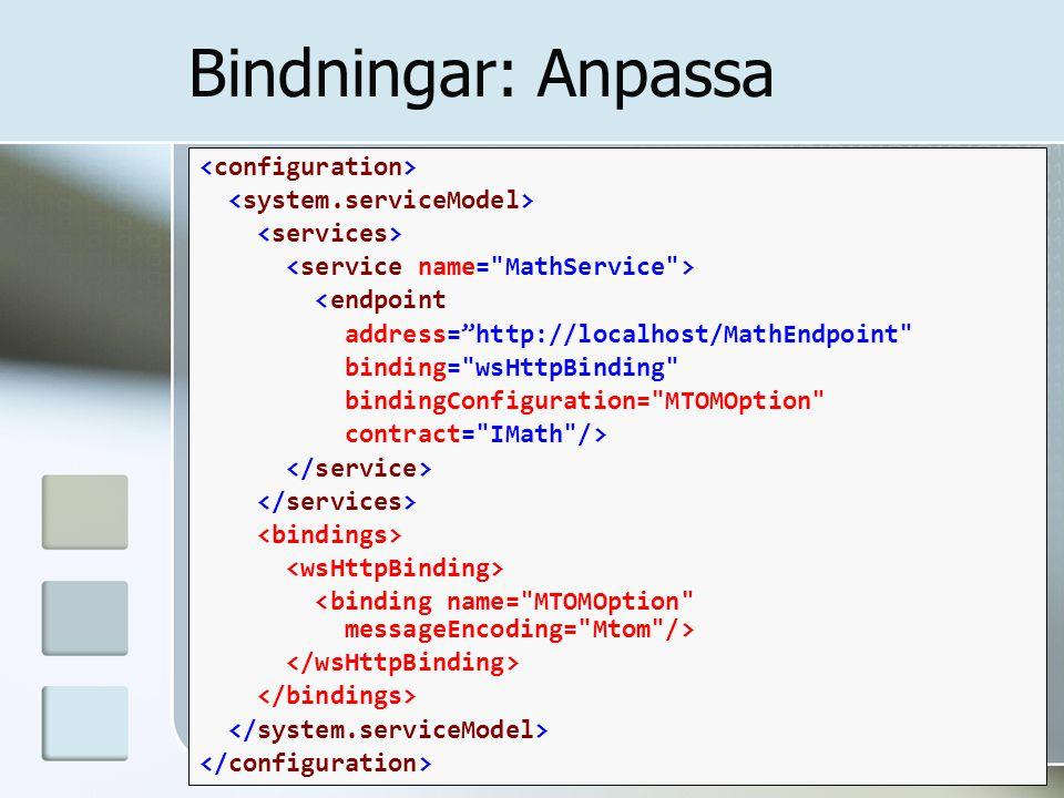 "Bindningar: Anpassa <endpoint address=""http://localhost/MathEndpoint"