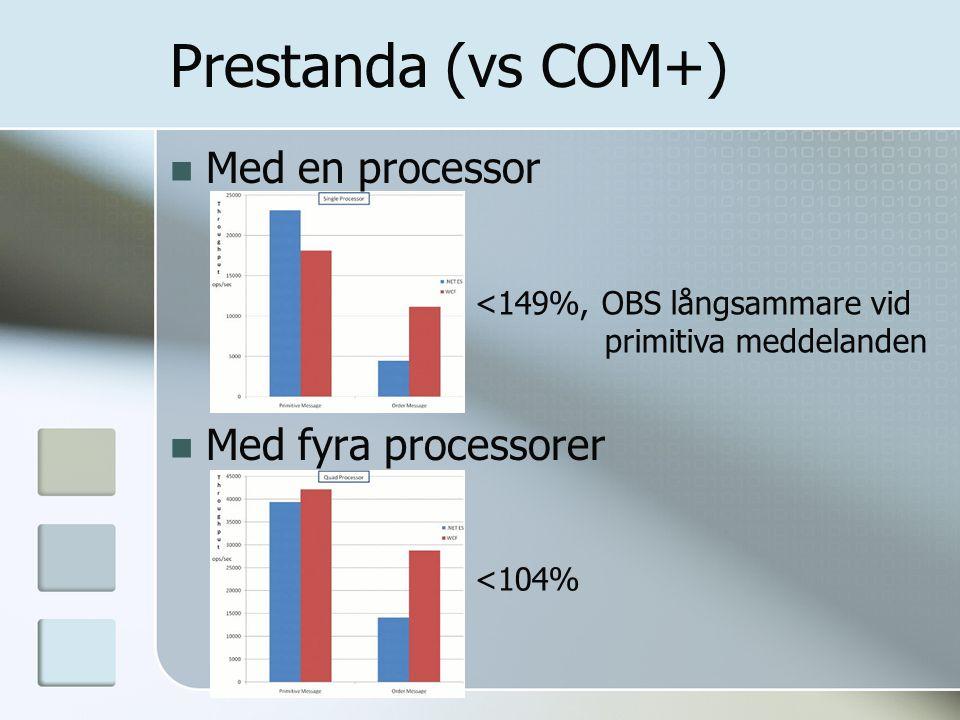 Prestanda (vs COM+) Med en processor Med fyra processorer <149%, OBS långsammare vid primitiva meddelanden <104%