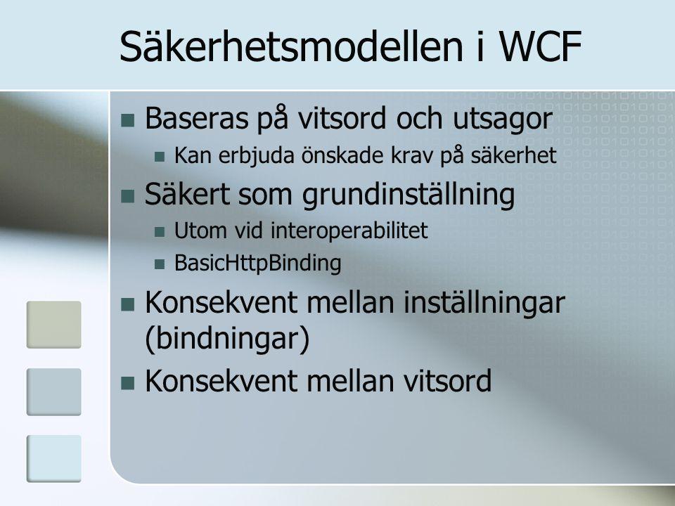 Säkerhetsmodellen i WCF Baseras på vitsord och utsagor Kan erbjuda önskade krav på säkerhet Säkert som grundinställning Utom vid interoperabilitet Bas