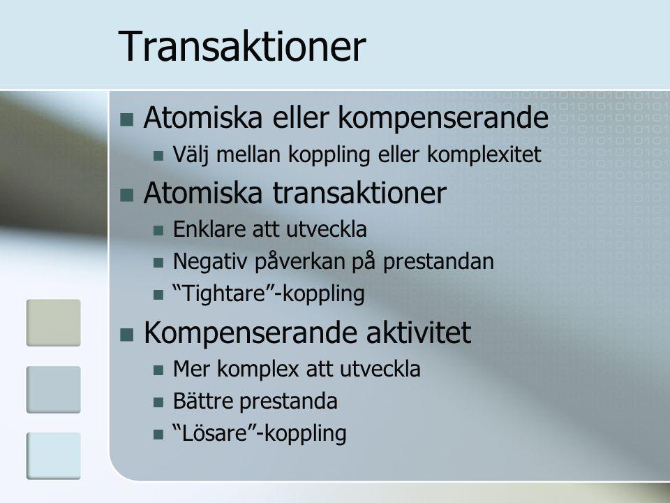 Transaktioner Atomiska eller kompenserande Välj mellan koppling eller komplexitet Atomiska transaktioner Enklare att utveckla Negativ påverkan på pres