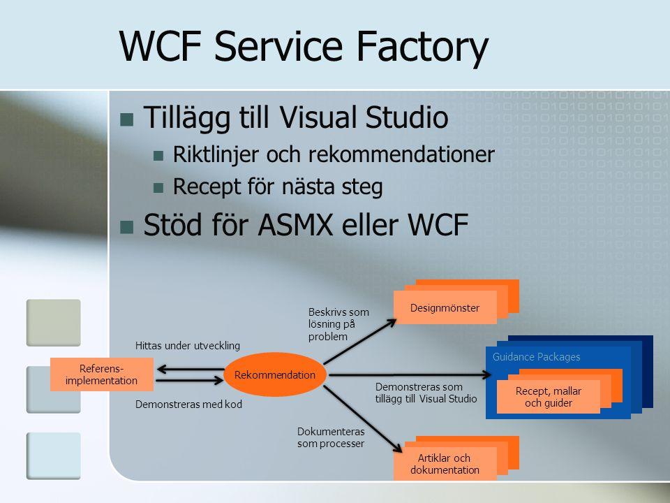 WCF Service Factory Tillägg till Visual Studio Riktlinjer och rekommendationer Recept för nästa steg Stöd för ASMX eller WCF Referens- implementation