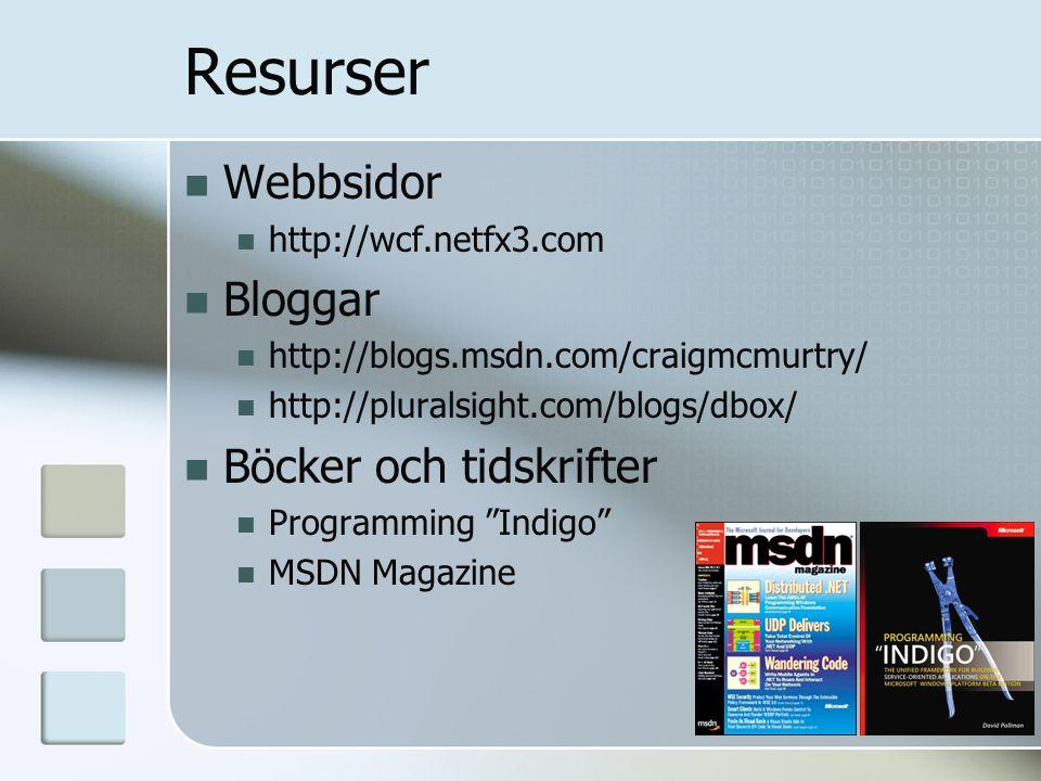 Resurser Webbsidor http://wcf.netfx3.com Bloggar http://blogs.msdn.com/craigmcmurtry/ http://pluralsight.com/blogs/dbox/ Böcker och tidskrifter Progra