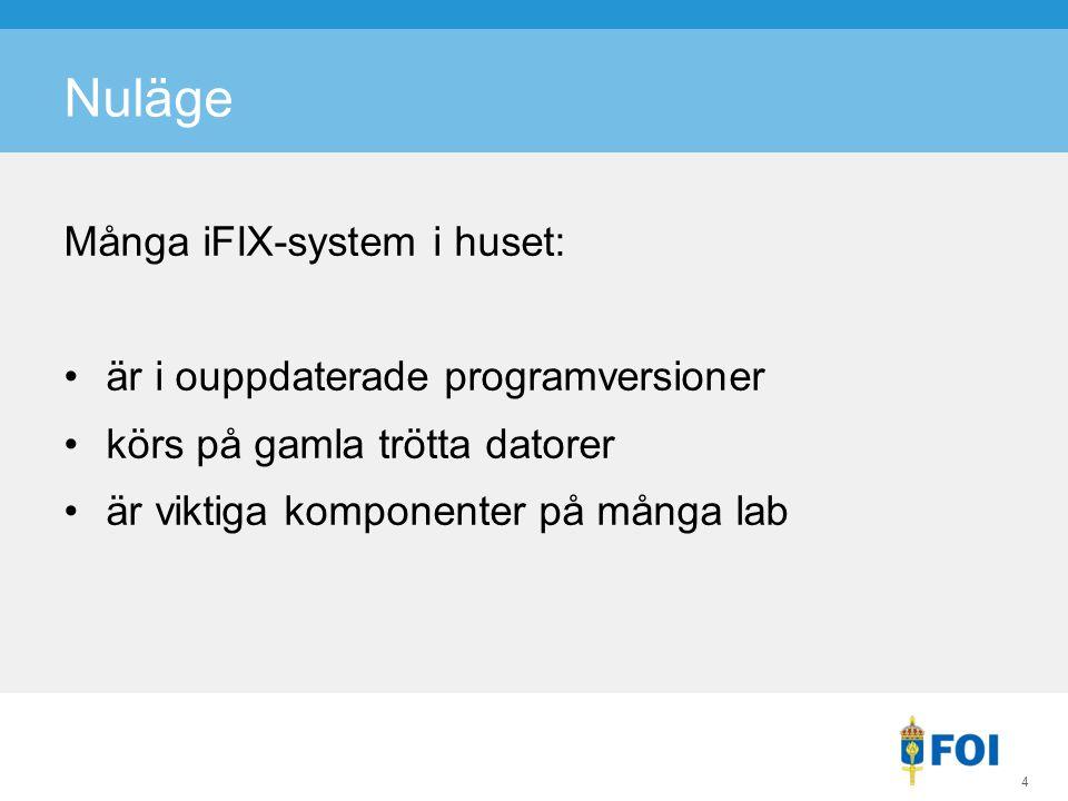 Nuläge Många iFIX-system i huset: är i ouppdaterade programversioner körs på gamla trötta datorer är viktiga komponenter på många lab 4
