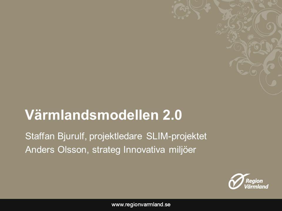www.regionvarmland.se Värmlandsmodellen 2.0 Staffan Bjurulf, projektledare SLIM-projektet Anders Olsson, strateg Innovativa miljöer