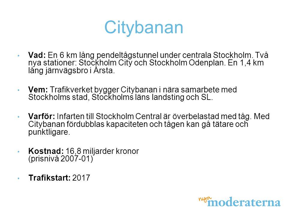Citybanan Vad: En 6 km lång pendeltågstunnel under centrala Stockholm. Två nya stationer: Stockholm City och Stockholm Odenplan. En 1,4 km lång järnvä