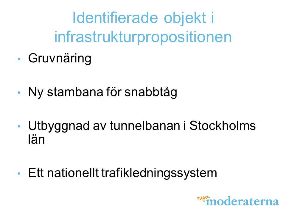 Identifierade objekt i infrastrukturpropositionen Gruvnäring Ny stambana för snabbtåg Utbyggnad av tunnelbanan i Stockholms län Ett nationellt trafikl