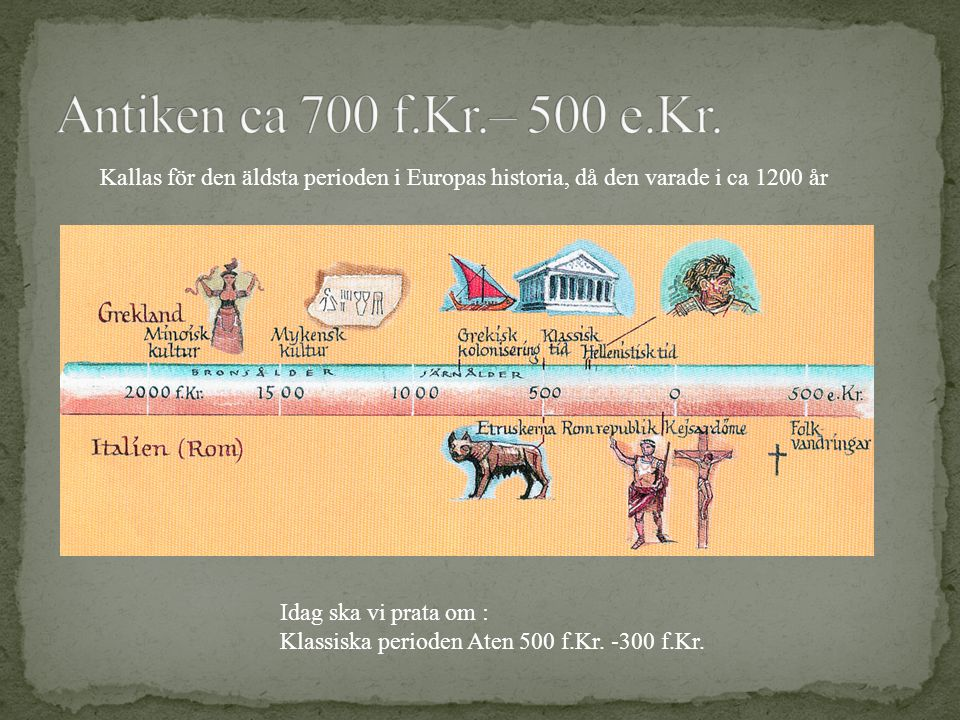 Kallas för den äldsta perioden i Europas historia, då den varade i ca 1200 år Idag ska vi prata om : Klassiska perioden Aten 500 f.Kr. -300 f.Kr.