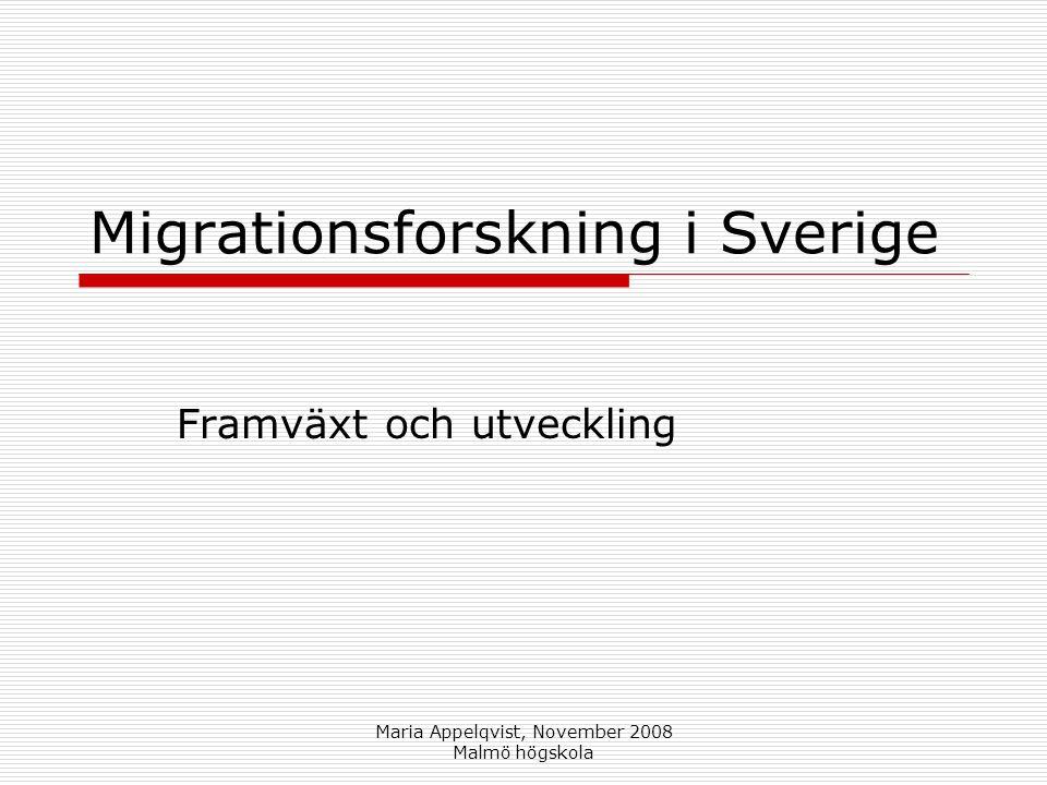 Maria Appelqvist, November 2008 Malmö högskola Migrationsforskning i Sverige Framväxt och utveckling