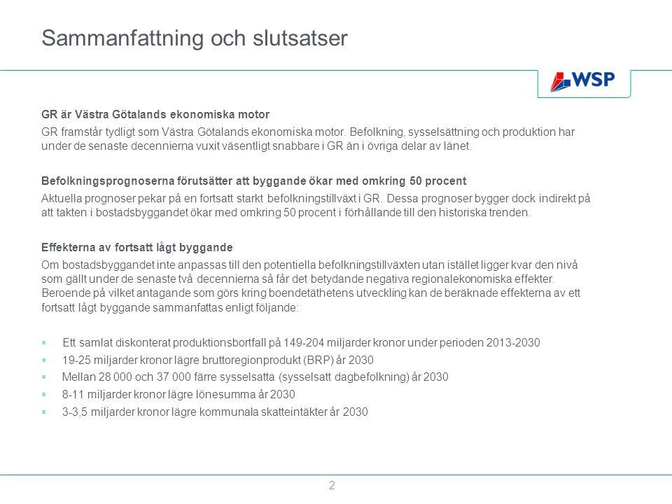 Sammanfattning och slutsatser GR är Västra Götalands ekonomiska motor GR framstår tydligt som Västra Götalands ekonomiska motor. Befolkning, sysselsät