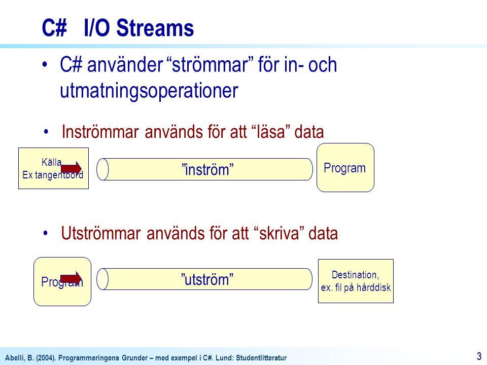 """Abelli, B. (2004). Programmeringens Grunder – med exempel i C#. Lund: Studentlitteratur 33 Källa, Ex tangentbord Program C# I/O Streams C# använder """"s"""