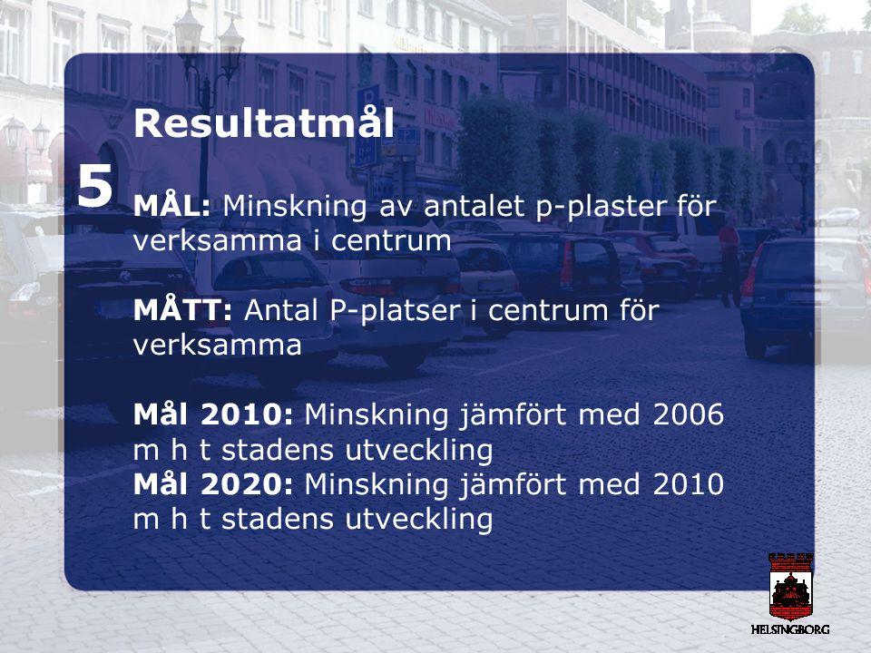 Resultatmål 5 MÅL: Minskning av antalet p-plaster för verksamma i centrum MÅTT: Antal P-platser i centrum för verksamma Mål 2010: Minskning jämfört me