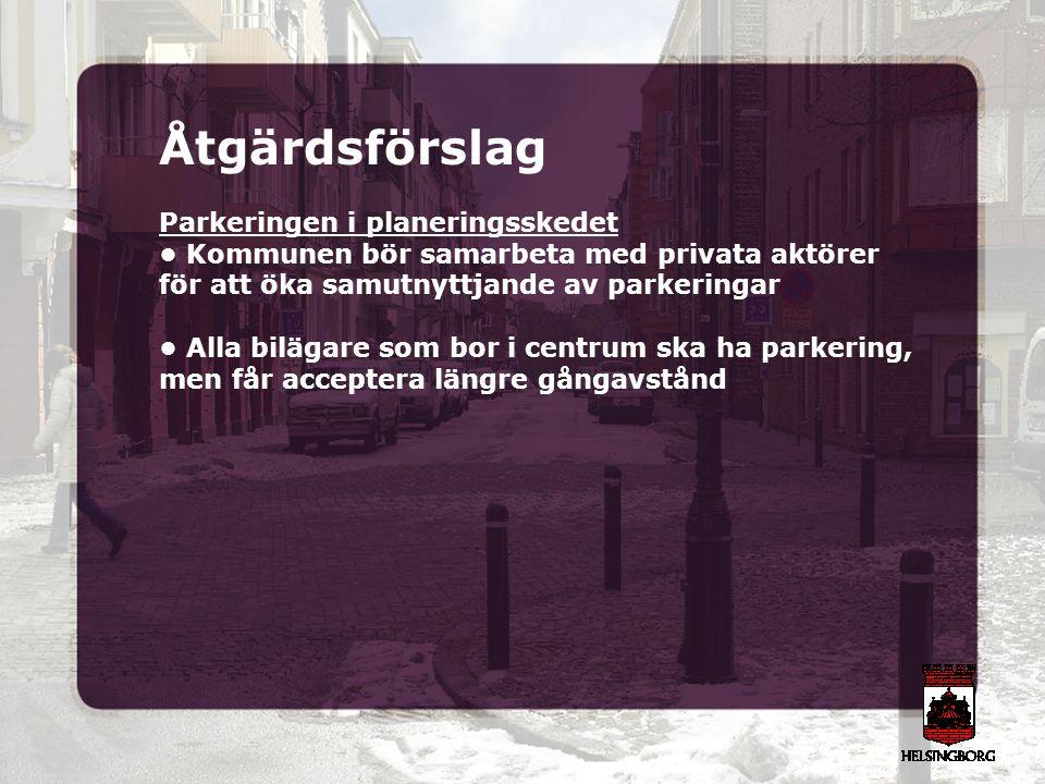 Åtgärdsförslag Parkeringen i planeringsskedet Kommunen bör samarbeta med privata aktörer för att öka samutnyttjande av parkeringar Alla bilägare som b