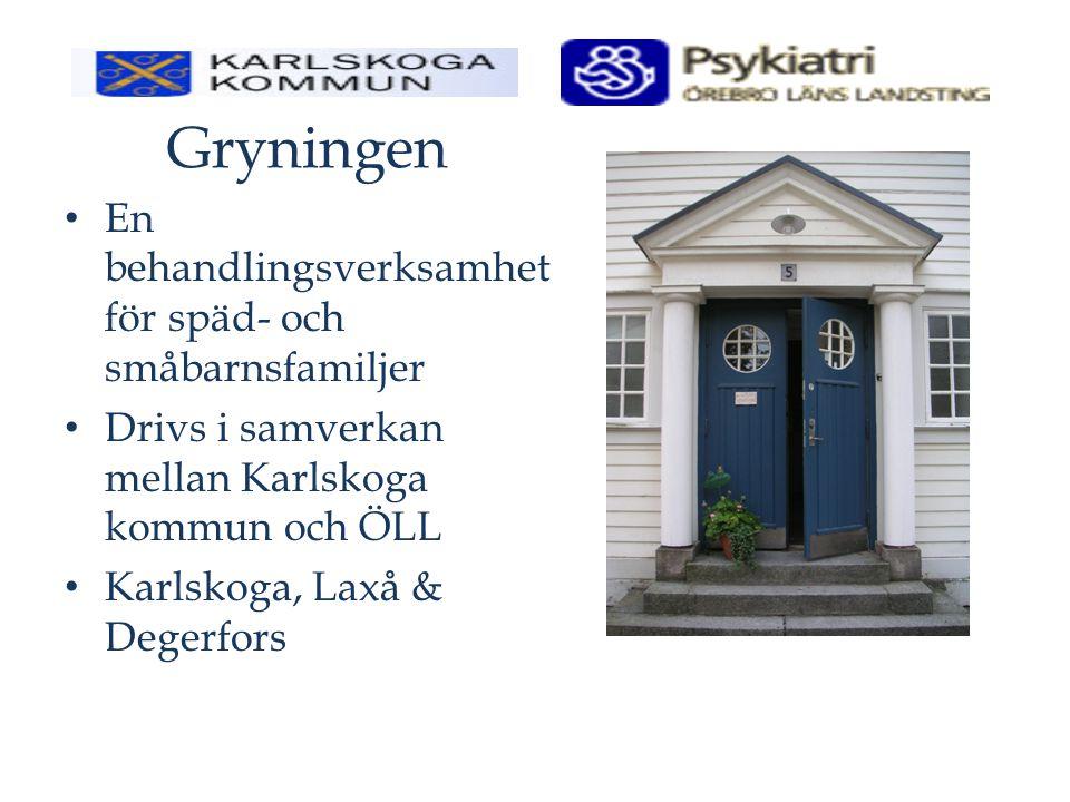 Gryningen En behandlingsverksamhet för späd- och småbarnsfamiljer Drivs i samverkan mellan Karlskoga kommun och ÖLL Karlskoga, Laxå & Degerfors