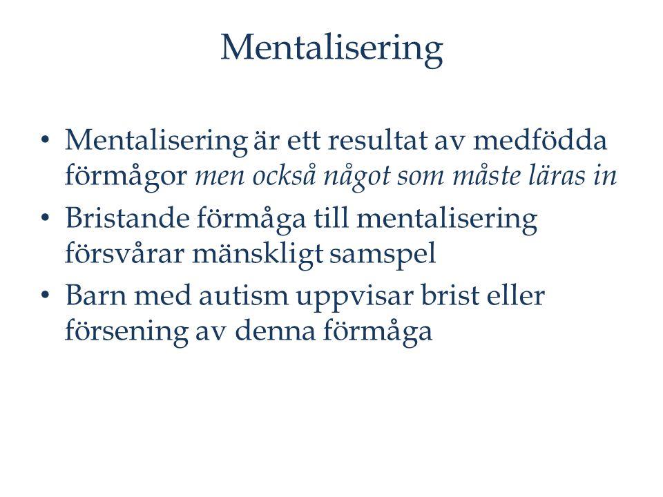 Mentalisering Mentalisering är ett resultat av medfödda förmågor men också något som måste läras in Bristande förmåga till mentalisering försvårar män