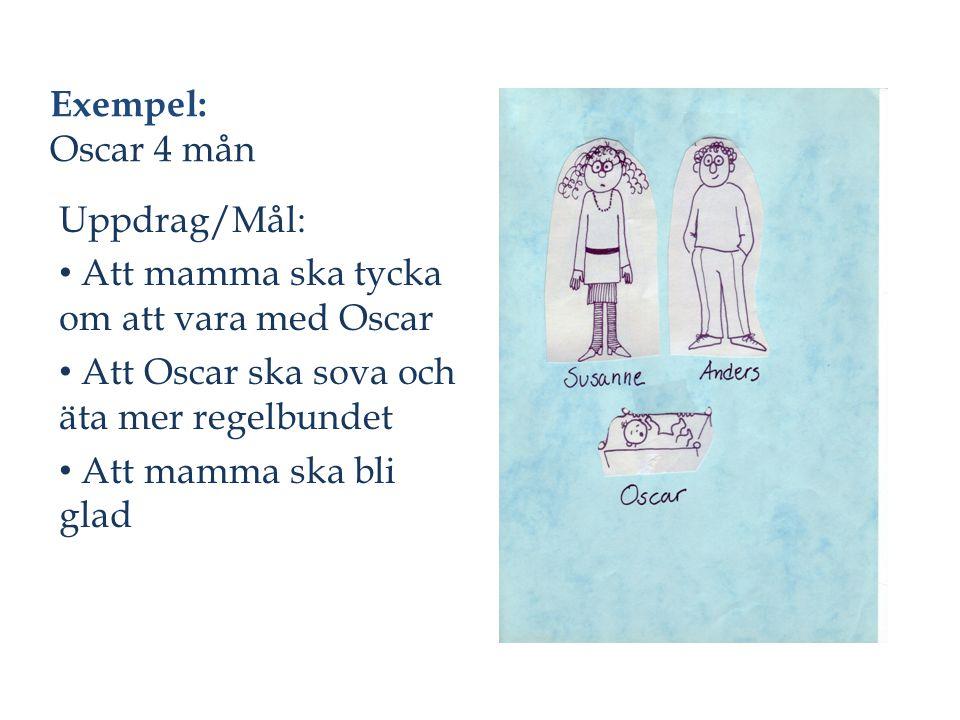 Exempel: Oscar 4 mån Uppdrag/Mål: Att mamma ska tycka om att vara med Oscar Att Oscar ska sova och äta mer regelbundet Att mamma ska bli glad