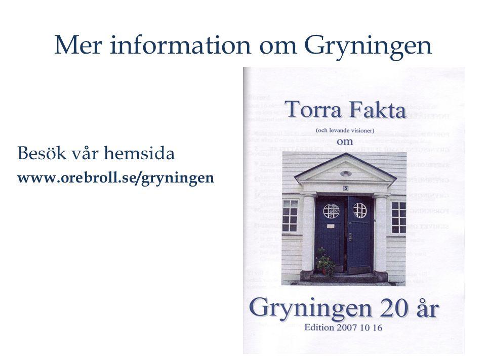 Mer information om Gryningen Besök vår hemsida www.orebroll.se/gryningen