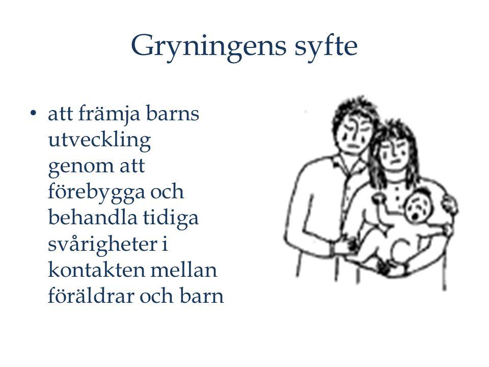 Gryningens syfte att främja barns utveckling genom att förebygga och behandla tidiga svårigheter i kontakten mellan föräldrar och barn