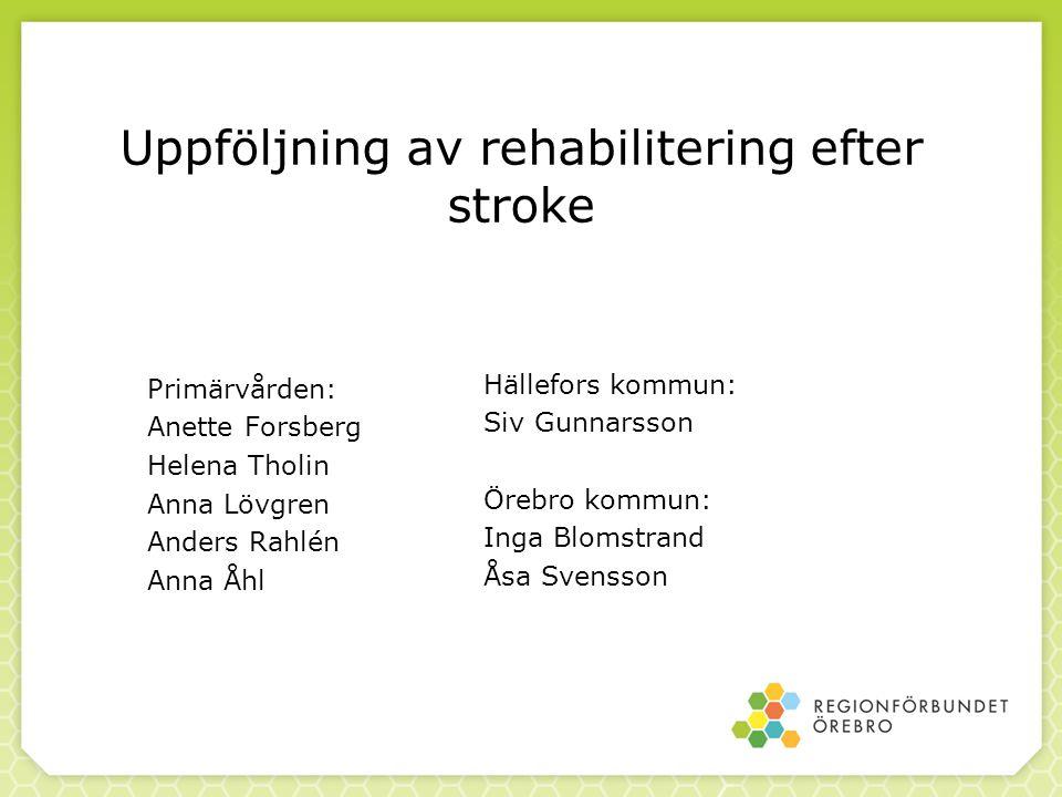 Uppföljning av rehabilitering efter stroke Primärvården: Anette Forsberg Helena Tholin Anna Lövgren Anders Rahlén Anna Åhl Hällefors kommun: Siv Gunna