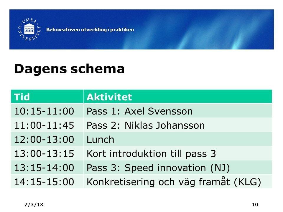 Dagens schema TidAktivitet 10:15-11:00Pass 1: Axel Svensson 11:00-11:45Pass 2: Niklas Johansson 12:00-13:00Lunch 13:00-13:15Kort introduktion till pass 3 13:15-14:00Pass 3: Speed innovation (NJ) 14:15-15:00Konkretisering och väg framåt (KLG) 7/3/13 Behovsdriven utveckling i praktiken 10