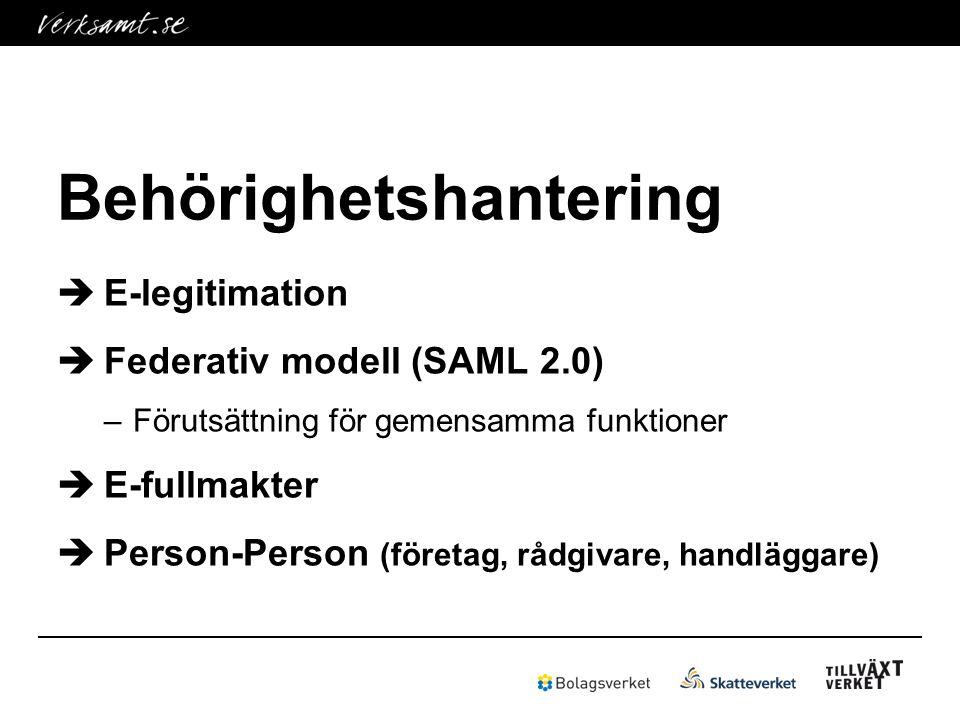 Behörighetshantering  E-legitimation  Federativ modell (SAML 2.0) –Förutsättning för gemensamma funktioner  E-fullmakter  Person-Person (företag, rådgivare, handläggare)