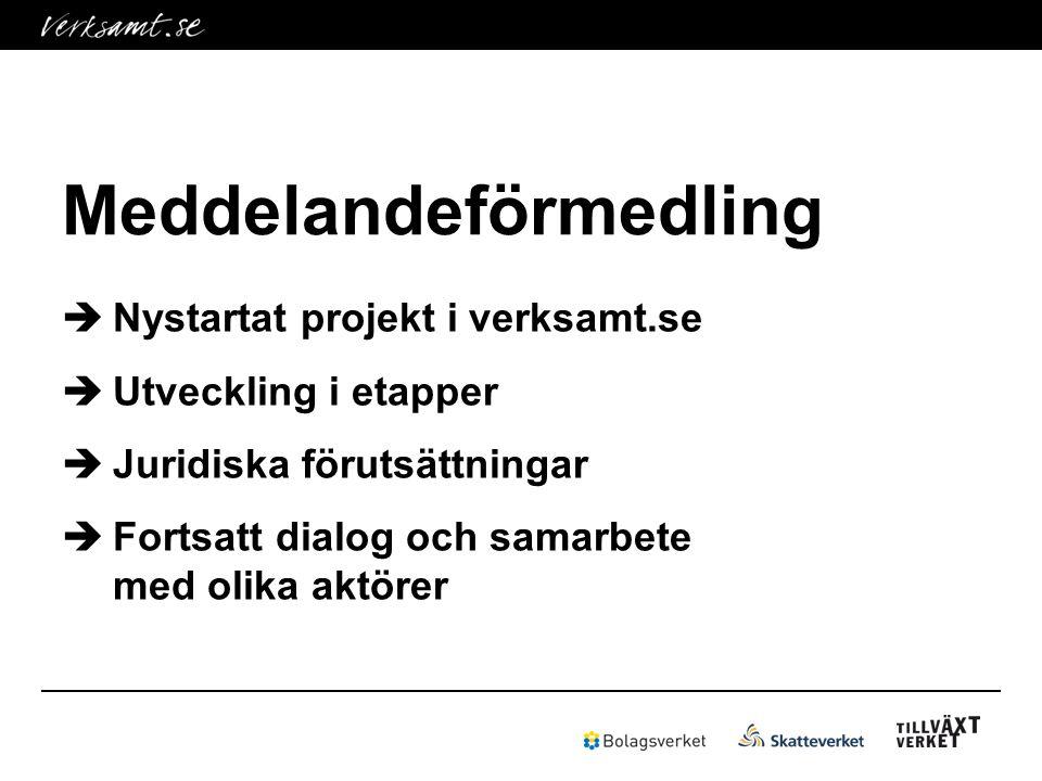  Nystartat projekt i verksamt.se  Utveckling i etapper  Juridiska förutsättningar  Fortsatt dialog och samarbete med olika aktörer
