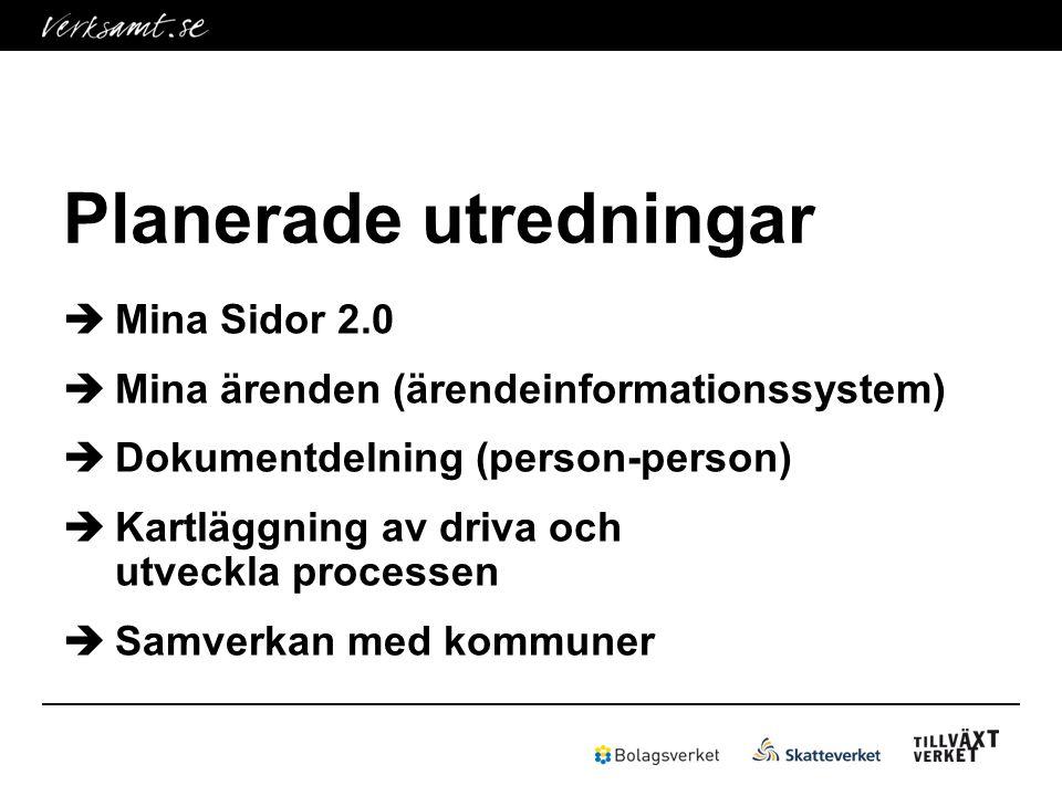 Planerade utredningar  Mina Sidor 2.0  Mina ärenden (ärendeinformationssystem)  Dokumentdelning (person-person)  Kartläggning av driva och utveckla processen  Samverkan med kommuner