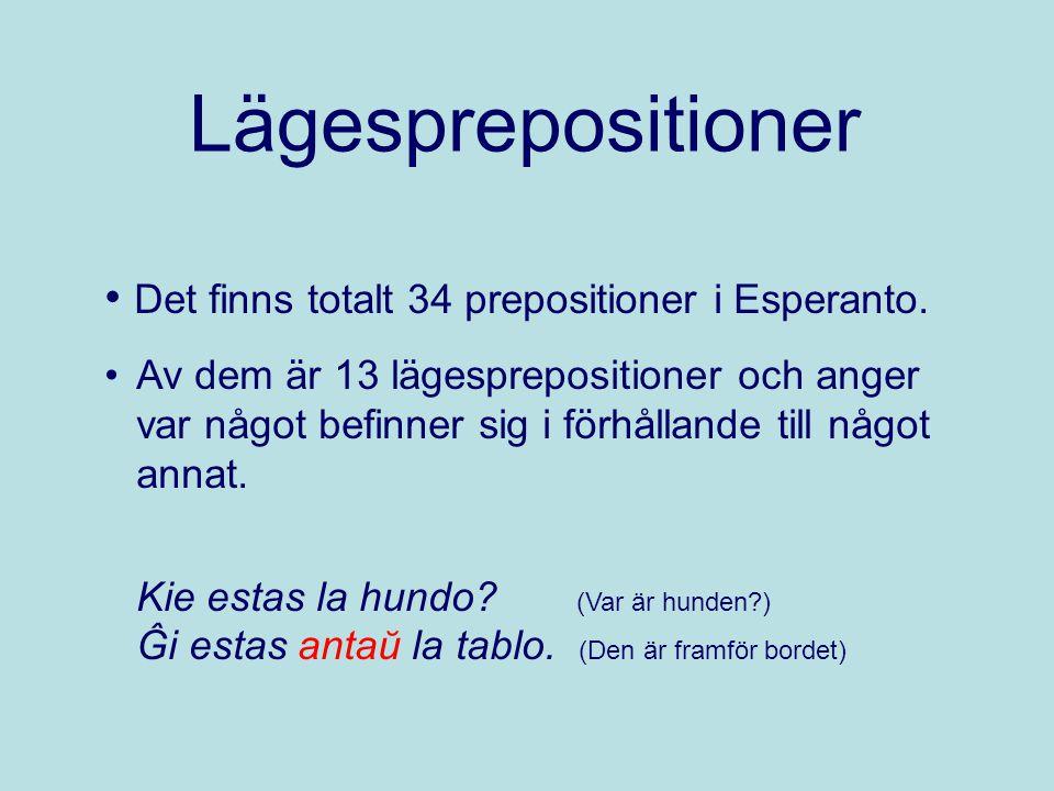 Lägesprepositioner Det finns totalt 34 prepositioner i Esperanto. Av dem är 13 lägesprepositioner och anger var något befinner sig i förhållande till