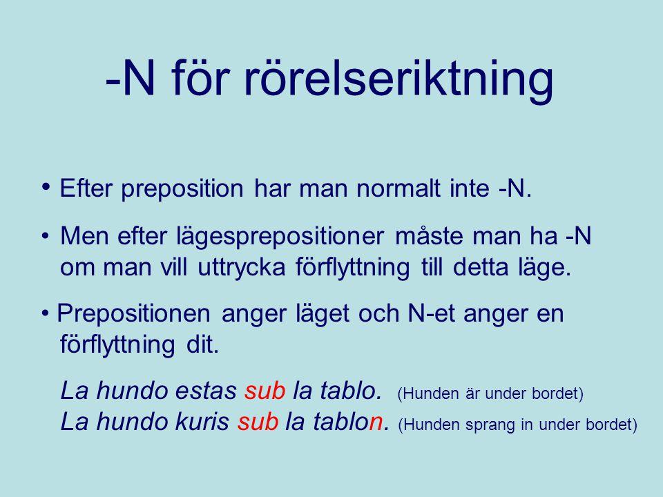 -N för rörelseriktning Efter preposition har man normalt inte -N. Men efter lägesprepositioner måste man ha -N om man vill uttrycka förflyttning till