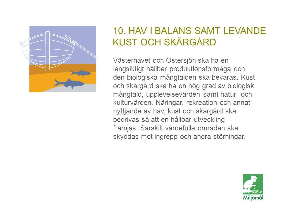 10. HAV I BALANS SAMT LEVANDE KUST OCH SKÄRGÅRD Västerhavet och Östersjön ska ha en långsiktigt hållbar produktionsförmåga och den biologiska mångfald