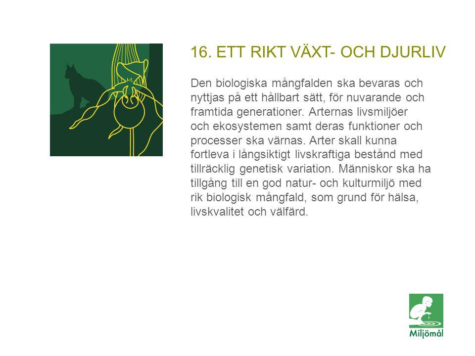 16. ETT RIKT VÄXT- OCH DJURLIV Den biologiska mångfalden ska bevaras och nyttjas på ett hållbart sätt, för nuvarande och framtida generationer. Artern