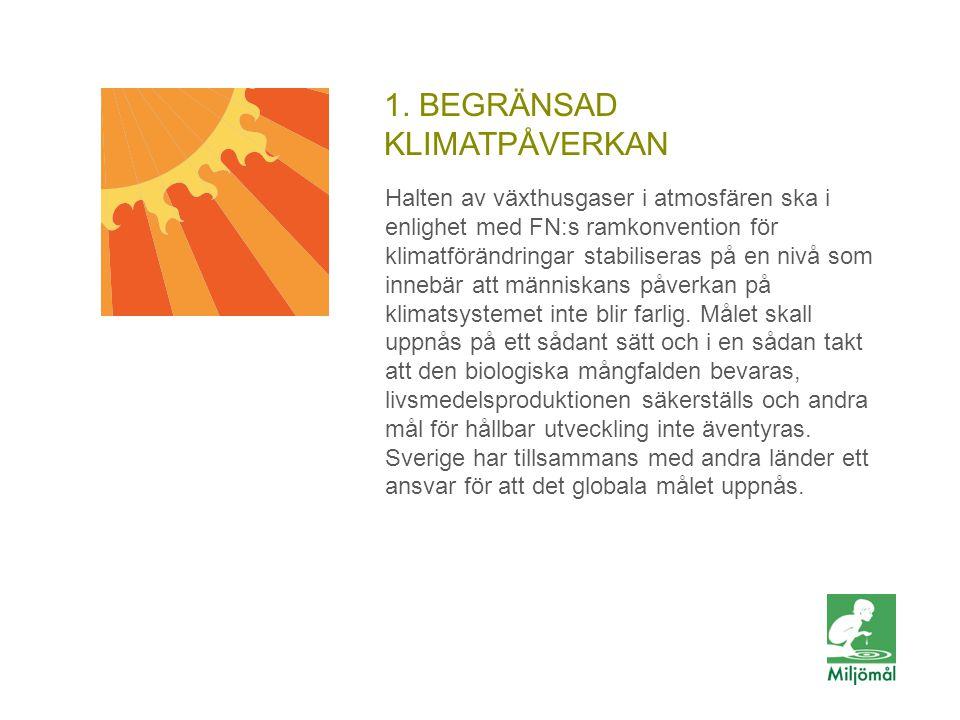 1. BEGRÄNSAD KLIMATPÅVERKAN Halten av växthusgaser i atmosfären ska i enlighet med FN:s ramkonvention för klimatförändringar stabiliseras på en nivå s