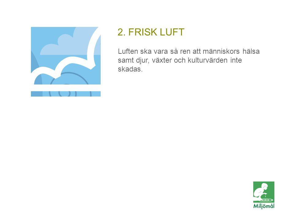 2. FRISK LUFT Luften ska vara så ren att människors hälsa samt djur, växter och kulturvärden inte skadas.