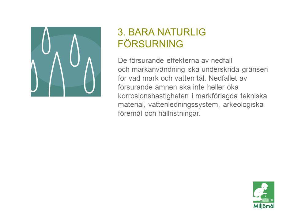 3. BARA NATURLIG FÖRSURNING De försurande effekterna av nedfall och markanvändning ska underskrida gränsen för vad mark och vatten tål. Nedfallet av f
