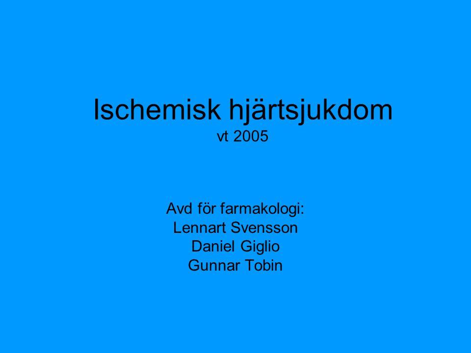 Ischemisk hjärtsjukdom vt 2005 Avd för farmakologi: Lennart Svensson Daniel Giglio Gunnar Tobin