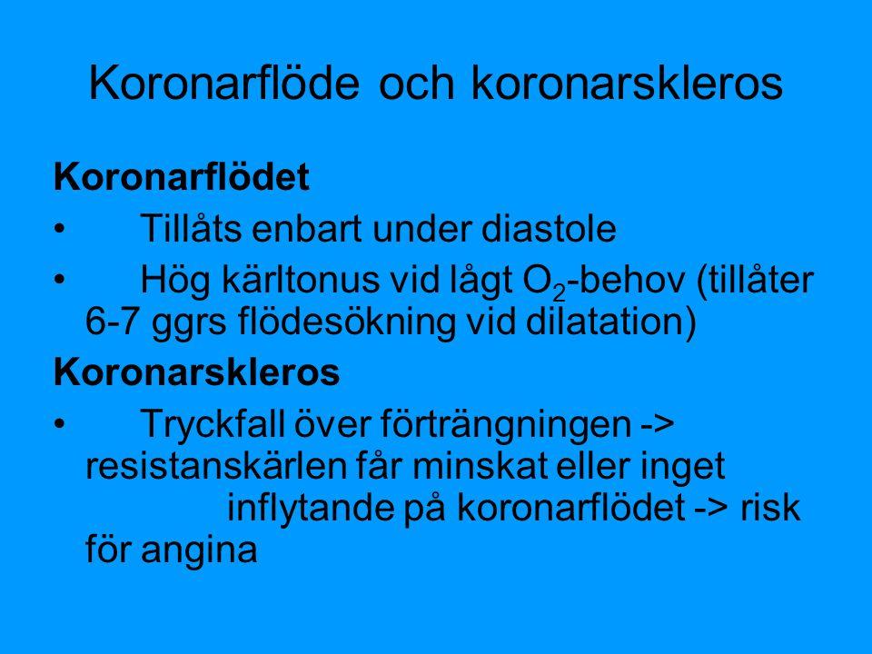 Koronarflöde och koronarskleros Koronarflödet Tillåts enbart under diastole Hög kärltonus vid lågt O 2 -behov (tillåter 6-7 ggrs flödesökning vid dila