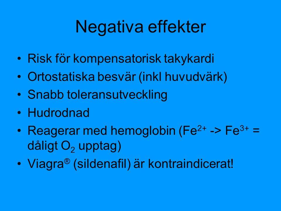 Negativa effekter Risk för kompensatorisk takykardi Ortostatiska besvär (inkl huvudvärk) Snabb toleransutveckling Hudrodnad Reagerar med hemoglobin (F