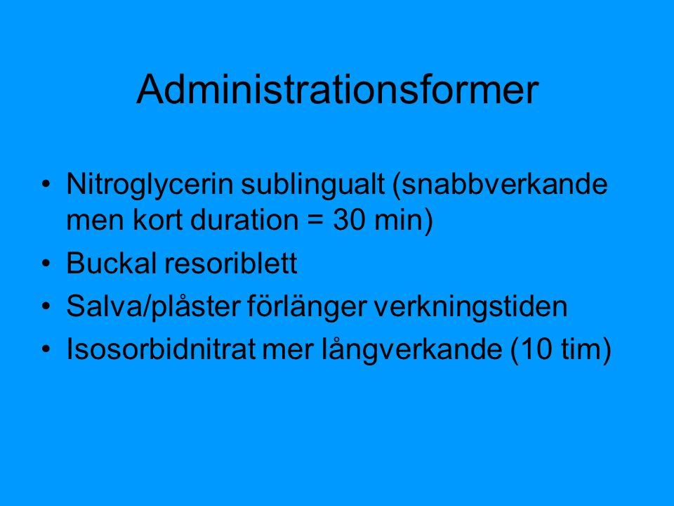 Administrationsformer Nitroglycerin sublingualt (snabbverkande men kort duration = 30 min) Buckal resoriblett Salva/plåster förlänger verkningstiden I