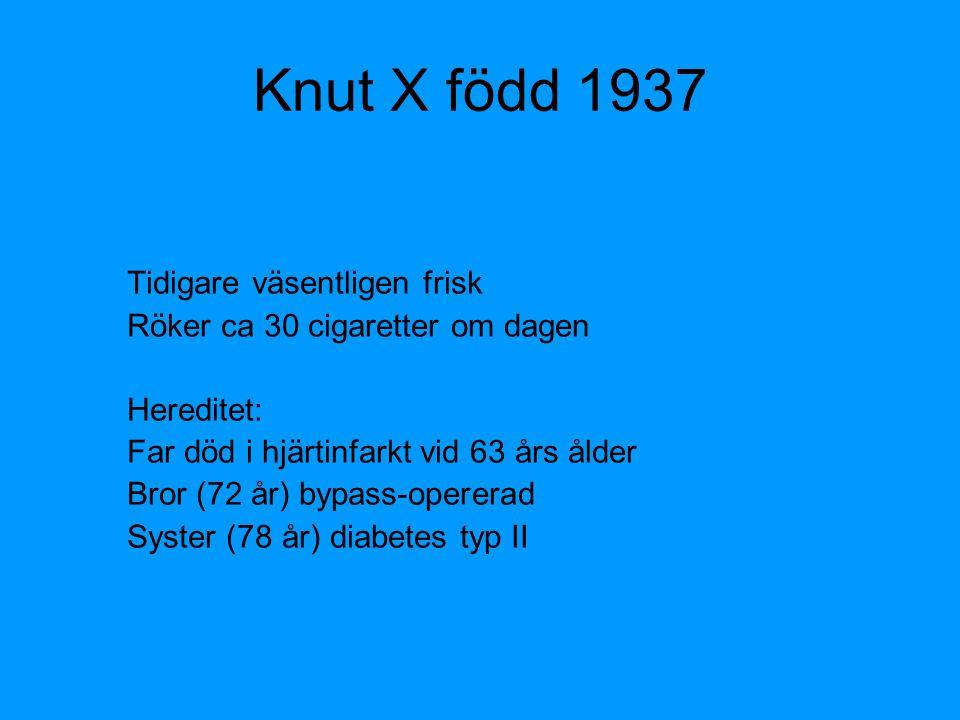 Knut X född 1937 Tidigare väsentligen frisk Röker ca 30 cigaretter om dagen Hereditet: Far död i hjärtinfarkt vid 63 års ålder Bror (72 år) bypass-ope
