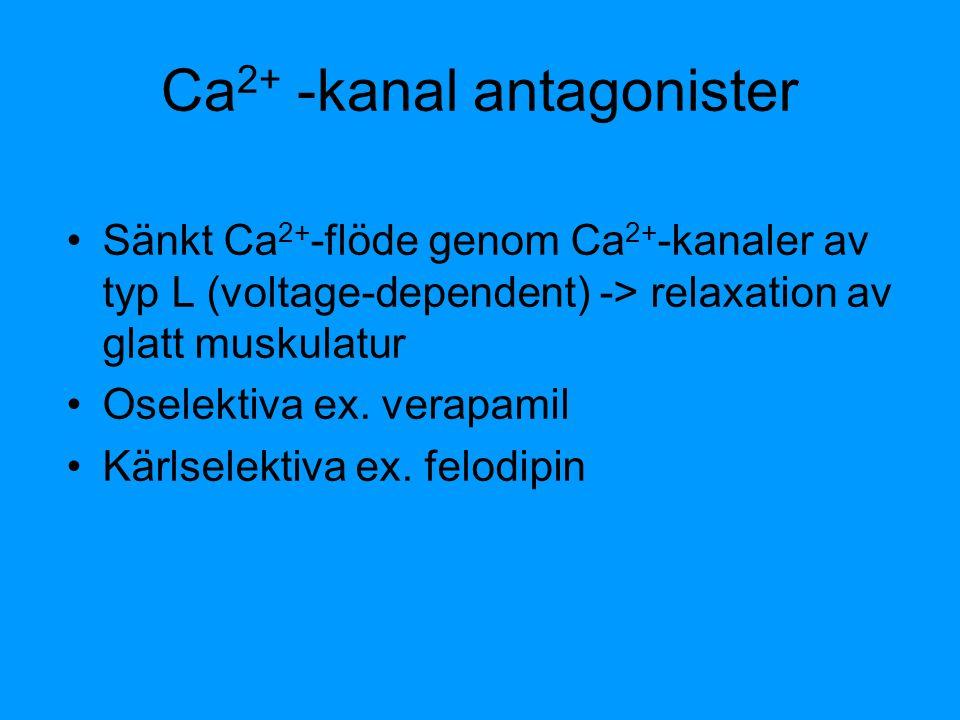 Ca 2+ -kanal antagonister Sänkt Ca 2+ -flöde genom Ca 2+ -kanaler av typ L (voltage-dependent) -> relaxation av glatt muskulatur Oselektiva ex. verapa