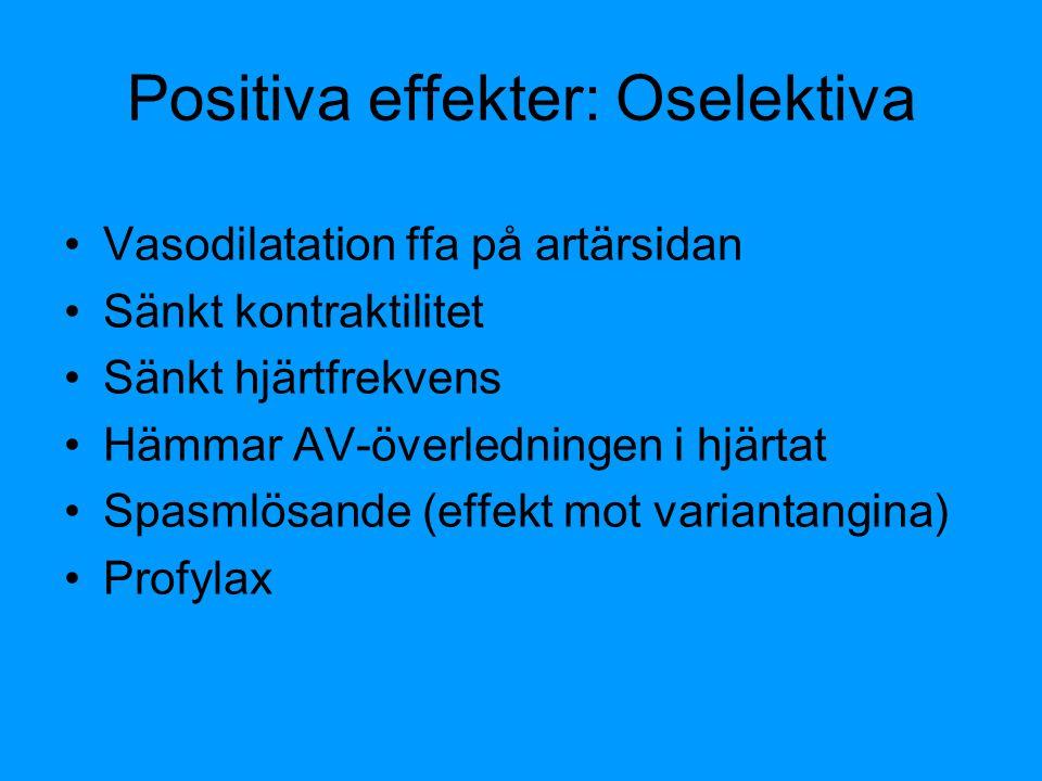 Positiva effekter: Oselektiva Vasodilatation ffa på artärsidan Sänkt kontraktilitet Sänkt hjärtfrekvens Hämmar AV-överledningen i hjärtat Spasmlösande