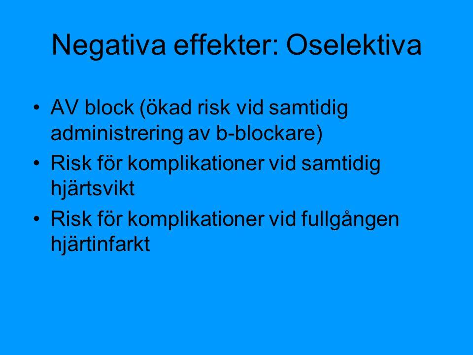 Negativa effekter: Oselektiva AV block (ökad risk vid samtidig administrering av b-blockare) Risk för komplikationer vid samtidig hjärtsvikt Risk för