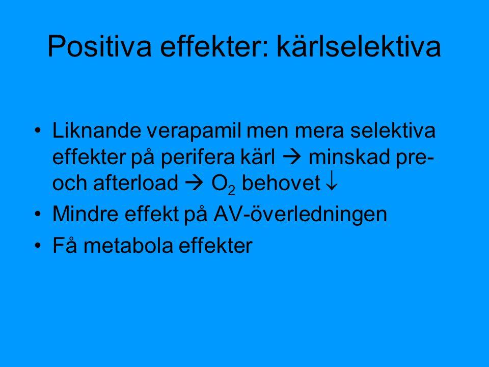 Positiva effekter: kärlselektiva Liknande verapamil men mera selektiva effekter på perifera kärl  minskad pre- och afterload  O 2 behovet  Mindre e